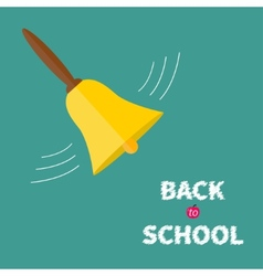 Ringing gold bell with handle back to school chalk vector