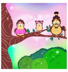 Family mom dad daughter on a branch vector