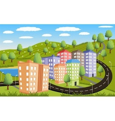 Rural landscape with small town vector