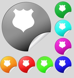 Shield icon sign set of eight multi colored round vector