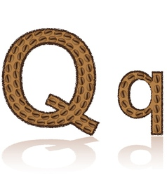 Letter q is made grains of coffee isolated on whit vector