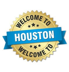 Houston 3d gold badge with blue ribbon vector