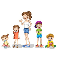 A mother with her four kids vector image vector image