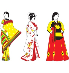 Asian girls vector image vector image