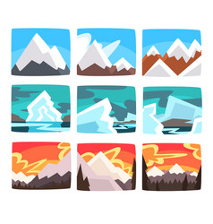 beautiful mountain landscapes set in different vector image