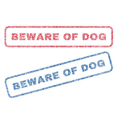 beware of dog textile stamps vector image vector image