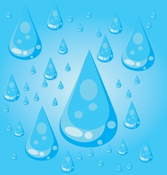 Big blue conic water drops with glows and reflecti vector