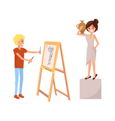 Boy drawing still life picture of woman with vase vector