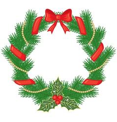 christmas garland fir vector image vector image