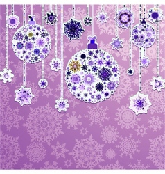 Christmas purple with baubles EPS 8 vector image