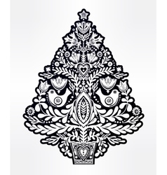 Christmas tree with holiday folk style elements vector