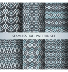 Collection of pixel gray seamless patterns vector image vector image