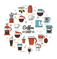 Colorful poster of coffee shop with several icons vector