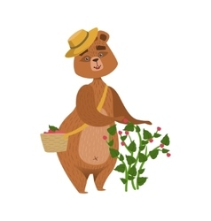 Girly cartoon brown bear character wearing straw vector