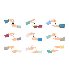 hands passing keys sale process collection vector image