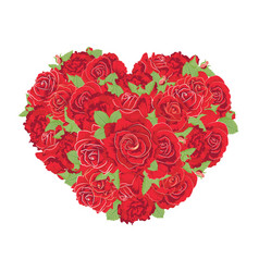 heart made of roses vector image vector image
