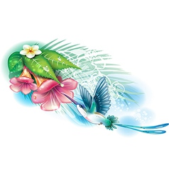 Hummingbird with flowers vector image vector image