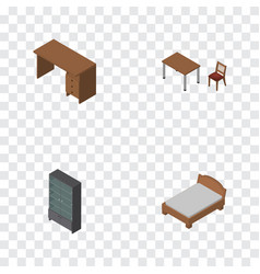 Isometric furnishing set of table bedstead chair vector