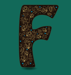 letter f with golden floral decor vector image