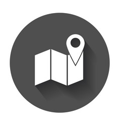 location icon pin with map flat icon with long vector image