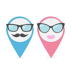 Map pointer set with lips mustaches and glasses vector