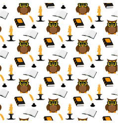 owl scientist pattern vector image vector image