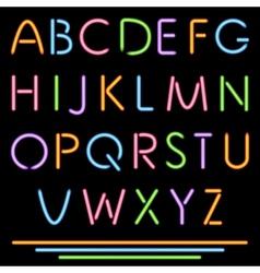 Realistic Neon Tube Letters Alphabet ABC Font vector image