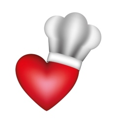 Realistic silhouette of chefs hat with heart vector