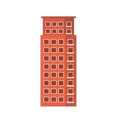 Red apartment building line sticker vector