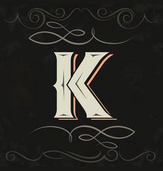 Retro style western letter design letter k vector