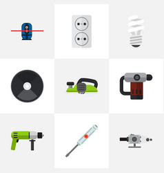 set of 9 editable electrical icons includes vector image vector image