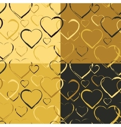Set of golden hearts seamless patterns vector