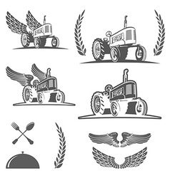 Set of retro farm tractor design badges and design vector image