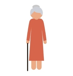 Silhouette elderly woman with a cane without face vector