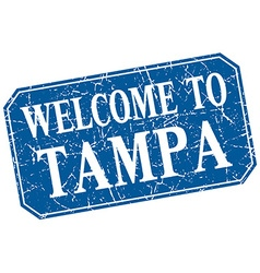 Welcome to tampa blue square grunge stamp vector
