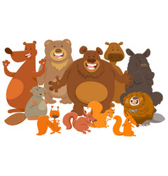 wild mammals animal characters cartoon vector image