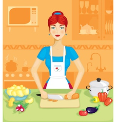 woman in the kitchen vector image vector image