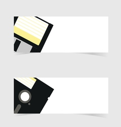 Banner with floppy disc icon on grey vector