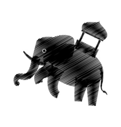 hand drawing elephant trained design icon vector image