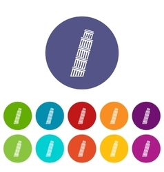 Tower of pisa set icons vector
