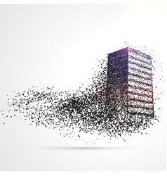 Building made from black particles vector