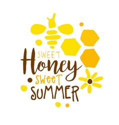 honey sweet summer logo colorful hand drawn vector image
