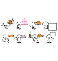 Chef Hat Guy Cartoon Mascot Characters-Collection vector image