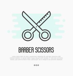 Hairdresser scissors thin line icon vector