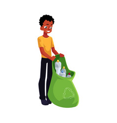 Black man holding bag of plastic bottles garbage vector