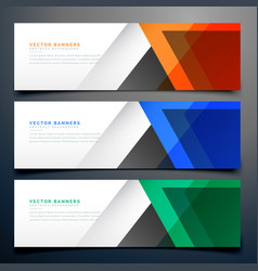 Abstract geometric banners in three different vector