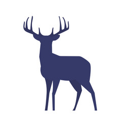 standing deer silhouette on white background vector image