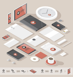Isometric corporate identity template vector