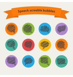 Speech black doodle scrabble bubbles vector