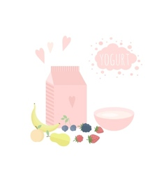 Yoghurt and fruits on a table vector